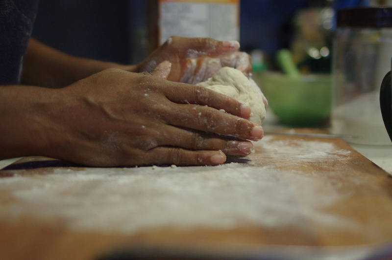 Dough preparation: the kneading part.